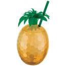 Ananasbecher mit Trinkhalm Gold
