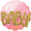 Több léggömbös rózsaszín kislány fóliába csomagolv