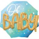 Több léggömb kék baba fiú fóliába csomagolva