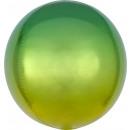 Ombré Orbz sárga és zöld fólia léggömb csomagolva