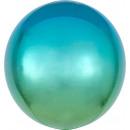 Ombré Orbz kék & zöld fólia léggömb csomagolva
