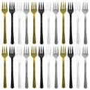 24 tenedores de cóctel de plástico surtido (negro,