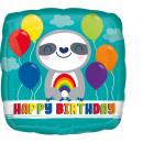 Standard Geburtstag Faultier mit Regenbogen Folien