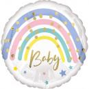 Standard pasztell Rainbow Baby fólia léggömb csoma
