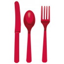 Cutlery (8 knives, 8 spoons, 8 forks) apple red