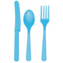 Evőeszközök (8 kése, 8 kanál, 8 villa) azúrkék