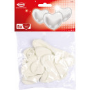 5 latex heart balloons white, medium 30 cm