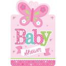 8 Einladungskarten Welcome Little One - Girl mit U