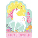 8 Invitation Cards Magical Unicorn with Envelopes