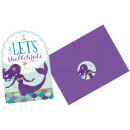 wholesale Greeting cards: 8 Invitation Cards & Envelopes Mermaid Wishes