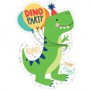 8 Einladungskarten & Umschläge Dino-Mite