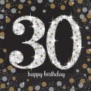 16 serviettes 30 Celebration Sparkling - Argent &a