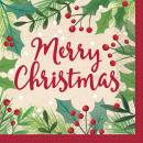 16 serviettes Merry Holly Day 33 x 33 cm