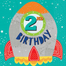 16 Servietten Blast Off Birthday '2nd Birthday' 33