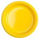 10 plato plástico soleado amarillo 22.8 cm