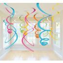 12 Deko-Spiralen mehrfarbig 55,8 cm