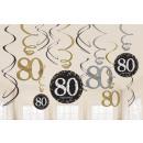 12 deco spirál Sparkling Celebration 80 év