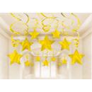 30 dekoratív spirál csillag arany