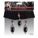 grossiste Chaines: collier en velours et boucles d'oreilles Gothi