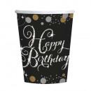 8 cups Happy Birthday Sparkling Celebrations gol