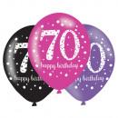 6 latex lufi 70 éves rózsaszín ünneplés 27.5cm / 1