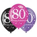 6 latex léggömb 80 éves rózsaszín ünneplés 27,5cm