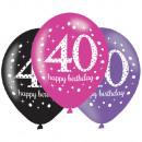 6 latex léggömb 40 éves rózsaszín ünneplés 27.5cm