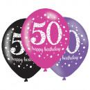 6 latex léggömb 50 éves rózsaszín ünneplés 27.5cm