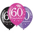 6 latex lufi 60 éves rózsaszín ünneplés 27,5cm / 1