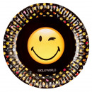 8 plate Smiley emoticons, 23 cm