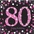 16 szalvéta Pink Celebration 80 év