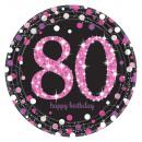 8 Tányér Rózsaszín ünnep 80 év prizmatikus 23cm