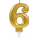 Numéro bougie 6 Sparkling Celebrations Gold