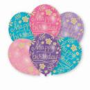 6 latex ballonnen ' Happy Birthday - Floral&#3