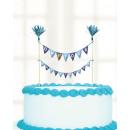 16 cake picks Christening blue
