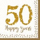 mayorista Casa y cocina: 16 servilletas Golden Anniversaries 33cm