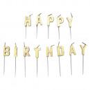 13 letterkaarsen Happy Birthday Gold