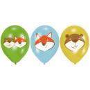 6 latex balloons Fox & Beaver 28cm / 11 '4