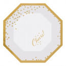 6 shape plates Golden Wishes 20 cm metallic