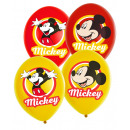 6 latex balloons Mickey Mouse 4-colored 27,5cm / 1