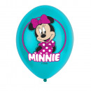 wholesale Party Items: 6 latex balloons Minnie Mouse 4-color 27,5cm / 11