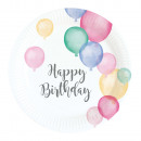 wholesale Gifts & Stationery: 8 plate Happy Birthday Pastel 18cm Ø
