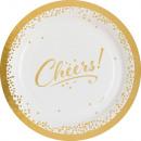 8 Teller Cheers, Golden Wishes, 23 cm metallic