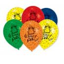 6 latex balloons Faut Fêter Ça total print 25.4 cm