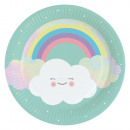 8 plate Rainbow & Cloud 23cm