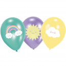 6 Ballons Rainbow & Cloud 27,5cm/11' 4C Print