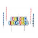 Gyertya készlet Herzlichen Glückwunsch 4 születésn