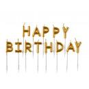 Gyertya beállítása Happy Birthday arany
