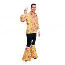 Erwachsenenkostüm 60's Flower Power Shirt Größe XL