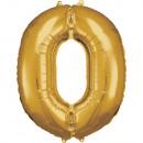 Nagy számú 0 N34 aranyfólia ballon, 66 cm-es csoma